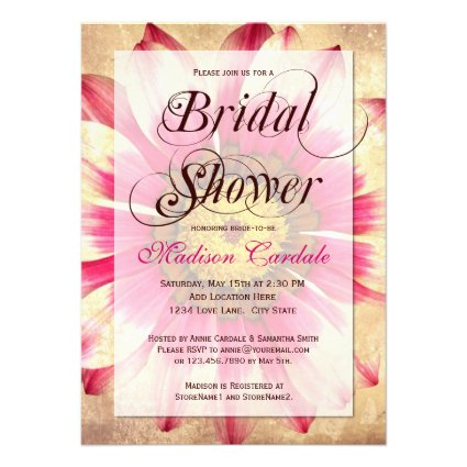 Rustic Pink Daisy Bridal Shower Invitations