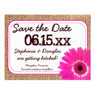 Rustic Pink Daisy Burlap Save The Date Postcards