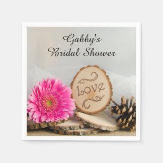Rustic Pink Daisy Woodland Bridal Shower Napkin