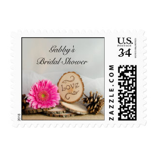 Rustic Pink Daisy Woodland Bridal Shower Postage