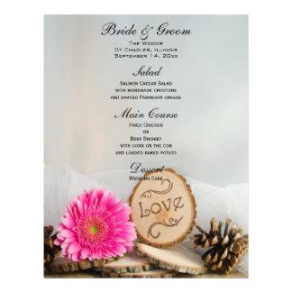 Rustic Pink Daisy Woodland Wedding Menu Custom Flyer