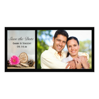 Rustic Pink Daisy Woodland Wedding Save the Date Card