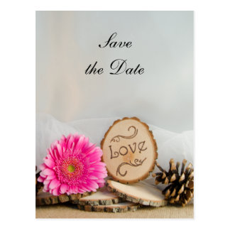 Rustic Pink Daisy Woodland Wedding Save the Date Postcard
