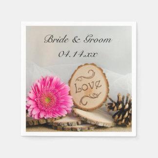 Rustic Pink Daisy Woods Wedding Paper Napkin