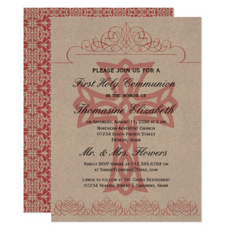 Rustic Pink First Holy Communion Cross Invitations