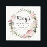 """Rustic Pink Floral 90th Birthday Party Napkins<br><div class=""""desc"""">Soft blush pink roses and bright pink buds create a beautifully rustic floral wreath. White hydrangeas at to the floral bloom. The birthday woman's name is written in a large script font. 90th Birthday and the thank you sentiment follow. This birthday napkin is part of the 90th Birthday Pink Rose...</div>"""