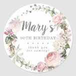 """Rustic Pink Floral 90th Birthday Thank You Classic Round Sticker<br><div class=""""desc"""">Soft blush pink roses and bright pink buds create a beautifully rustic floral wreath. White hydrangeas at to the floral bloom. The birthday woman's name is written in a large script font. 90th Birthday and the thank you sentiment follow. This birthday sticker is part of the 90th Birthday Pink Rose...</div>"""