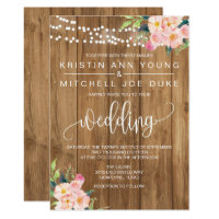 Rustic Pink Floral and Wood Wedding Invitation