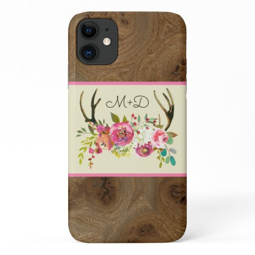 Rustic Pink Floral Antlers and wood with monogram iPhone 11 Case
