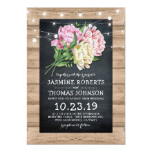 Rustic Pink Floral Chalkboard Lights Wedding