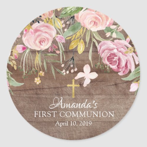 Rustic Pink Floral First Holy Communion Sticker