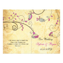 Rustic, pink floral folded , fall Wedding program