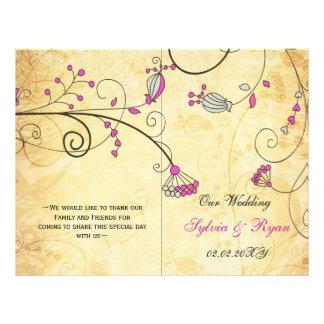 Rustic, pink floral folded , fall Wedding program