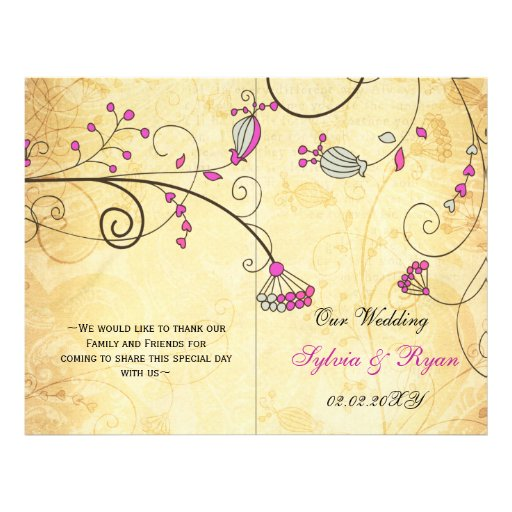 Rustic, pink floral folded , fall Wedding program Personalized Flyer