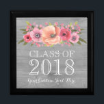 "Rustic Pink Floral Graduation Keepsake Gift Box<br><div class=""desc"">Gift box keepsake for graduation class of 2018 with rustic country grey wood pattern and vintage watercolor flowers in pink and peach.</div>"
