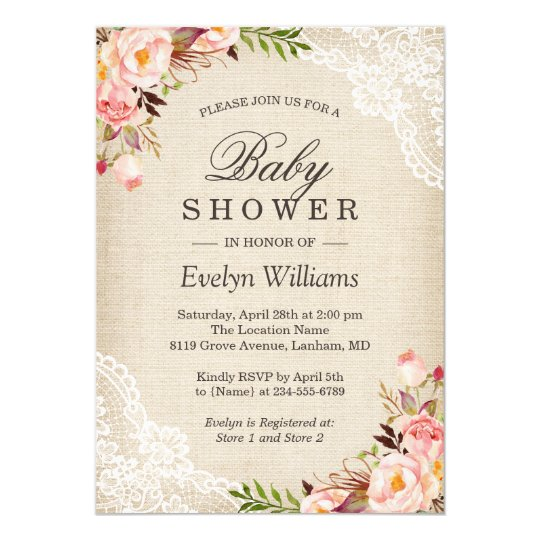 05f17a0ea22 Rustic Pink Floral Ivory Burlap Lace Baby Shower Invitation