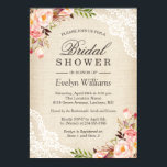 """Rustic Pink Floral Ivory Burlap Lace Bridal Shower Card<br><div class=""""desc"""">================= ABOUT THIS DESIGN ================= Rustic Pink Floral Ivory Burlap Lace Bridal Shower Invitation. (1) You are able to change the Burlap Color by setting different background colors. For further customization, please click the &quot;Customize&quot; button and use our design tool to modify this template. All text style, colors, sizes can...</div>"""