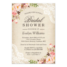 Rustic Pink Floral Ivory Burlap Lace Bridal Shower Card at Zazzle
