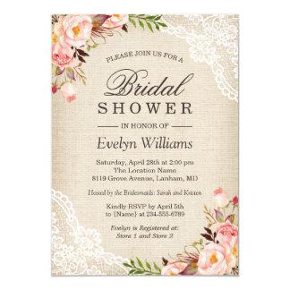 Rustic Pink Floral Ivory Burlap Lace Bridal Shower Card