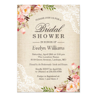 Rustic Pink Floral Ivory Burlap Lace Bridal Shower Card