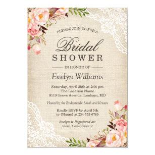 7b0c3d346b0 Rustic Pink Floral Ivory Burlap Lace Bridal Shower Invitation