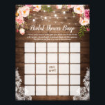 "Rustic Pink Floral Lace Bridal Shower Bingo Game Flyer<br><div class=""desc"">Rustic String Lights Pink Floral Lace Bridal Shower Bingo Game Flyer.</div>"