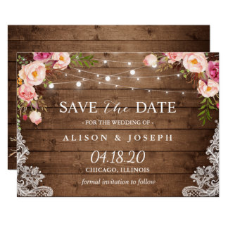 Rustic Pink Floral Lace String Light Save the Date Card