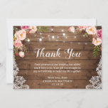 """Rustic Pink Floral Lace String Lights Thank You<br><div class=""""desc"""">Rustic Pink Floral Lace String Lights Thank You Card. (1) For further customization, please click the &quot;customize further&quot; link and use our design tool to modify this template. (2) If you prefer Thicker papers / Matte Finish, you may consider to choose the Matte Paper Type. (3) If you need help...</div>"""