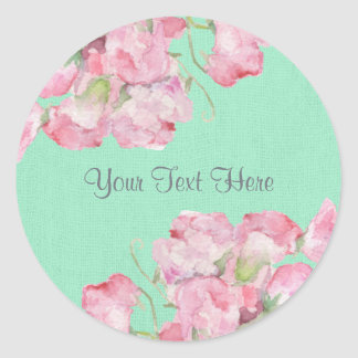 Rustic Pink Floral on Mint Green Burlap Classic Round Sticker