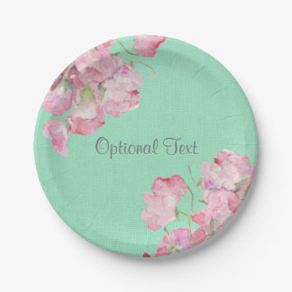 Rustic Pink Floral on Mint Green Burlap Paper Plate