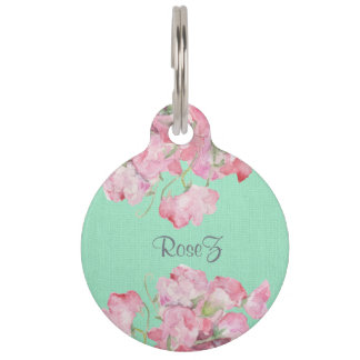 Rustic Pink Floral on Mint Green Burlap Pet Name Tag