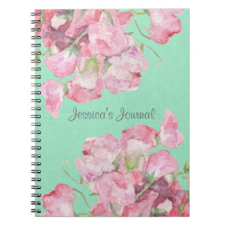 Rustic Pink Floral on Mint Green Burlap Spiral Notebook