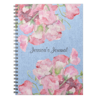 Rustic Pink Floral on Serenity Blue Burlap Notebook