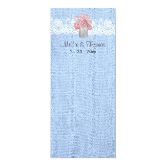 Rustic Pink Floral on Serenity Blue Burlap Wedding Card