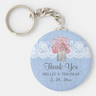 Rustic Pink Floral on Serenity Blue Burlap Wedding Keychain