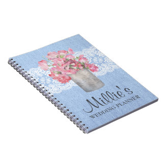 Rustic Pink Floral on Serenity Blue Burlap Wedding Notebook