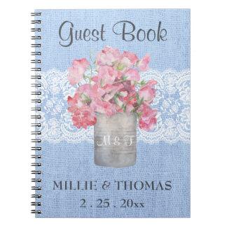 Rustic Pink Floral on Serenity Blue Burlap Wedding Spiral Notebook
