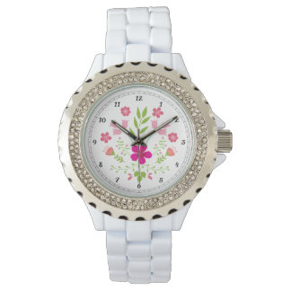 Rustic Pink Floral Pattern Wristwatches