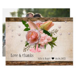 Rustic Pink Floral Photo Wedding Thank You Card