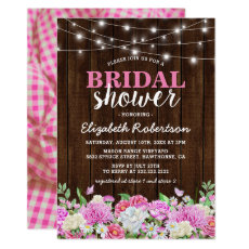 Rustic Pink Floral String Lights Bridal Shower Invitation