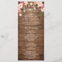 Rustic Pink Floral String Lights Wedding Program