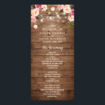 """Rustic Pink Floral String Lights Wedding Program<br><div class=""""desc"""">Rustic Pink Floral String Lights Wedding Program Card.  (1) For further customization,  please click the &quot;Customize&quot; button and use our design tool to modify this template. The background color is changeable.  (2) If you need help or matching items,  please contact me.</div>"""