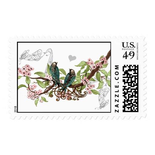 Rustic Pink Floral Vintage Love Bird Wedding Stamp