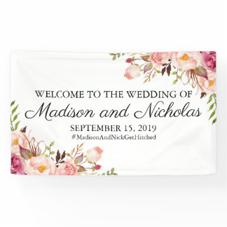 Rustic Pink Floral Wedding Banner Decoration
