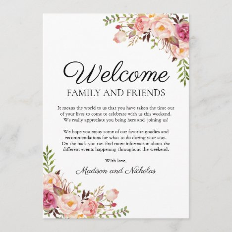 Rustic Pink Floral Wedding Hotel Welcome Cards