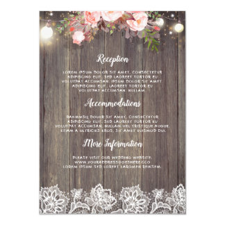 Rustic Pink Floral Wedding Information Guest Card