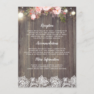 Rustic Pink Floral Wedding Information Guest Enclosure Card