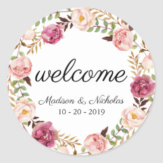Rustic Pink Floral Wedding Welcome Stickers