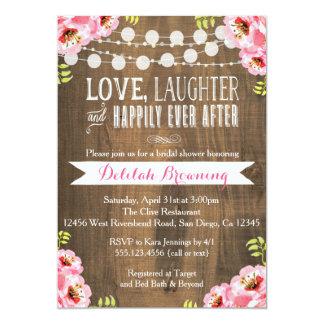 Rustic Pink Floral & Wood Bridal Shower Invitation