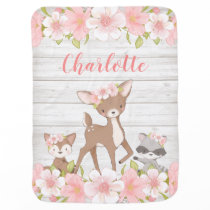 Rustic Pink Floral Woodland Animals Personalized Baby Blanket